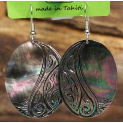 Boucles d'oreilles nacre de Tahiti Ovales N°5