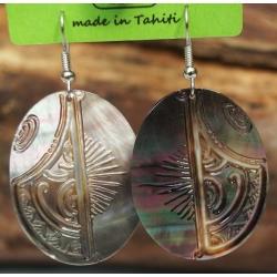 Boucles d'oreilles nacre de Tahiti Ovales N°6