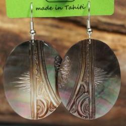 Boucles d'oreilles nacre de Tahiti Ovales N°7