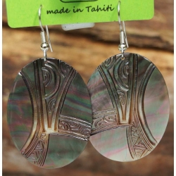 Boucles d'oreilles nacre de Tahiti Ovales N°8