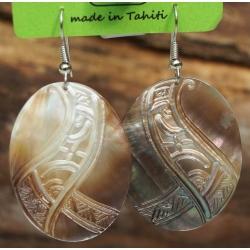 Boucles d'oreilles nacre de Tahiti Ovales N°9