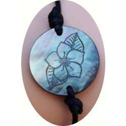Bracelet nacre motif fleur de tiaré N° 7