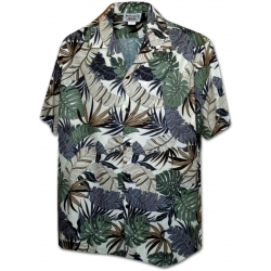 Chemise hawaienne CREAM LEAVES