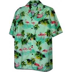 Chemise Hawaienne FLAMINGO IN GREEN