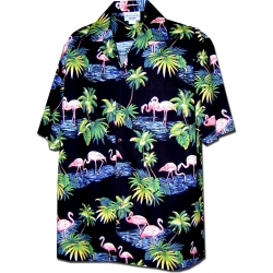 Chemise Hawaienne FLAMINGO IN THE NIGHT