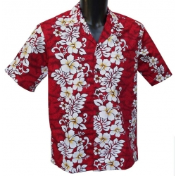 Chemise Hawaienne Floral lines rouge