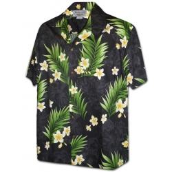 Chemise Hawaienne FRANGIPANIER FROM HAWAII Noire