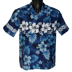 Chemise Hawaienne Hibiscus and Fern Blue