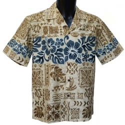 Chemise Hawaienne Hibiscus Band crème