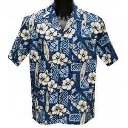 Chemise Hawaienne Hibiscus Surfs Blue