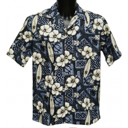 Chemise Hawaienne Hibiscus Surfs Grey