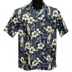 Chemise Hawaienne Hibiscus Surfs Grey
