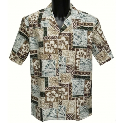 Chemise Hawaienne Hibiscus Tapa Brown
