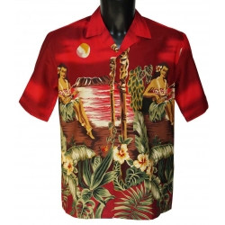 Chemise Hawaienne Hula Girl Red