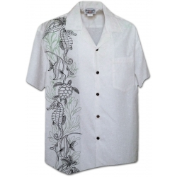 Chemise Hawaienne HYPPOCAMPUS AND TURTLES (blanc)