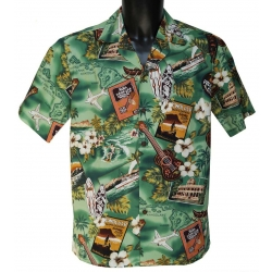 Chemise Hawaienne Kona Music Green