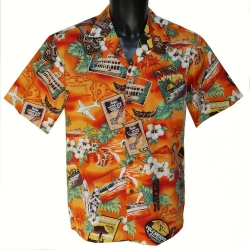 Chemise Hawaienne Kona Music Orange