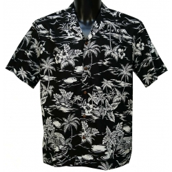 Chemise Hawaienne LOVE SHACK BLACK