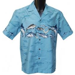 Chemise Hawaienne Marlin Bleu