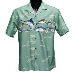 Chemise Hawaienne MARLIN Vert d'eau