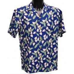 Chemise hawaienne MINI ANTHURIUM Bleu