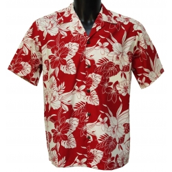 Chemise hawaienne MONSTERA ORCHID RED