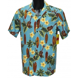 Chemise Hawaienne MUSIC AND SURFS BLEUE