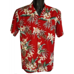 Chemise hawaienne ORCHID GINGER Rouge
