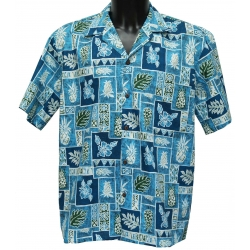 Chemise hawaienne PINEAPPLE BLOCK BLUE