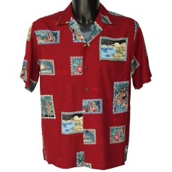 Chemise hawaienne POSTCARDS Rouge