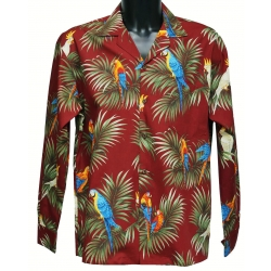 Chemise hawaienne RED PARROTS