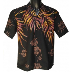 Chemise Hawaienne Shoulder Fern Black