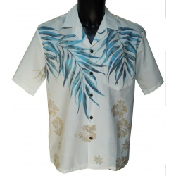 Chemise Hawaienne Shoulder Fern White