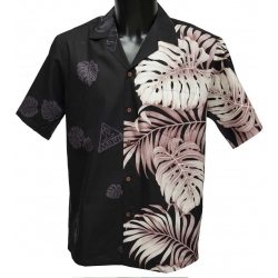 Chemise Hawaienne Side Monstera Fern Black