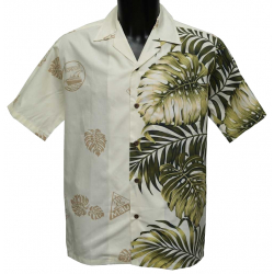 Chemise Hawaienne Side Monstera Fern Crème