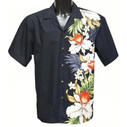 Chemise Hawaienne SIDE ORCHID Noire
