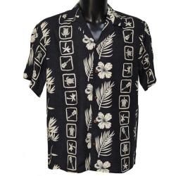 Chemise hawaienne SQUARES BLACK