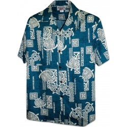 Chemise Hawaienne STYLIZED TURTLES BLUE
