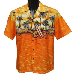Chemise Hawaienne Sunset canoé orange