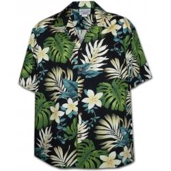 Chemise Hawaïenne SUNSHINE FLOWERS (noir)