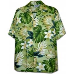 Chemise Hawaïenne SUNSHINE FLOWERS (verte)