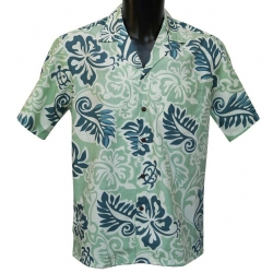 Chemise Hawaienne Turtle Fronds Blue