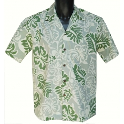 Chemise Hawaienne Turtle Fronds Sage