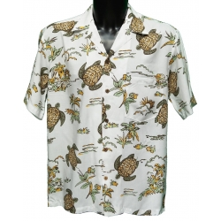 Chemise hawaienne TURTLES WHITE