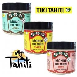 Lot de 3 pots Monoi Tiki Tiaré, Coco et Vanille