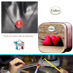 Pack 1 savon coffret metal + 1 collier perle verre filé