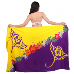 Paréo MANTA MANTA violet et jaune