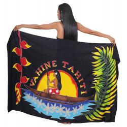 Paréo VAHINE TAHITI noir