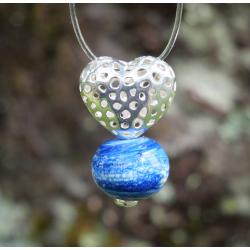 Pendentif Coeur argent et Perle en verre filé 1