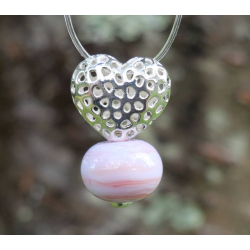 Pendentif Coeur argent et Perle en verre filé 2